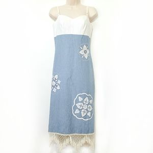 Paradox Fringed Chambray Embroidered Dress Size 4
